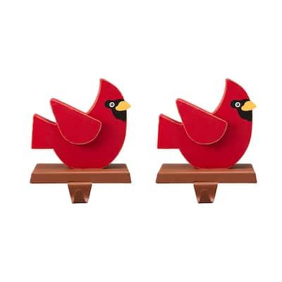 Wooden/Metal Cardinal Stocking Holder (2-Pack)