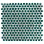 Hudson Penny Round Emerald 12 in. x 12-5/8 in. x 5 mm Porcelain Mosaic Tile (10.74 sq. ft. / case)