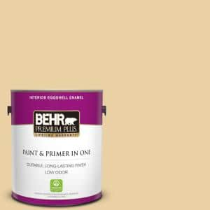 Behr Premium Plus 1 Gal M300 3 Harmonious Gold Eggshell Enamel Low Odor Interior Paint And Primer In One 240001 The Home Depot