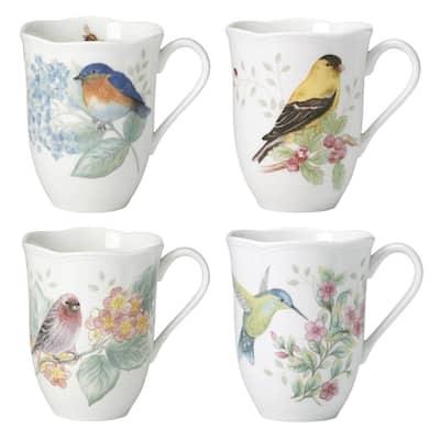 Butterfly Meadow Flutter 12 oz. Porcelain Multi Color Coffee/Tea Mugs (Set of 4)