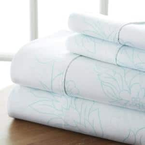 4-Piece Aqua Floral Microfiber King Sheet Set