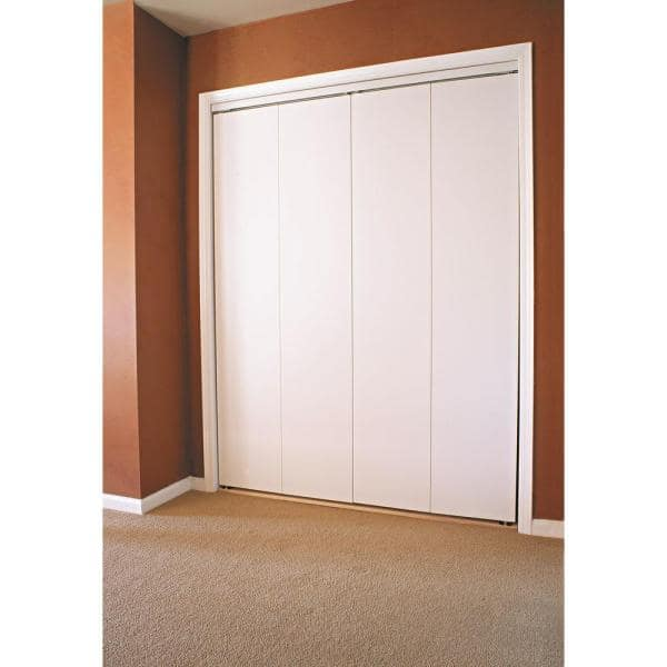 Impact Plus 72 In X 84 In Smooth Flush Primed Solid Core Mdf Interior Closet Bi Fold Door With Matching Trim Bfp344 7284w The Home Depot