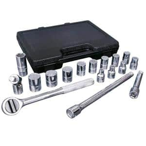 1/2 in. Drive SAE Socket Set with Accessories in Plastic Case (17-Piece)