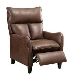 Brown Recliner Chair Modern Reclining Sofa with Roll Arm Pushback Manual Recliner Heavy Duty