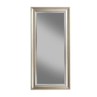 Oversized Champagne Silver Plastic Beveled Glass Full-Length Classic Mirror (65 in. H X 31 in. W)