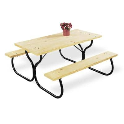 Black Rectangular Metal Outdoor Picnic Table Frame Only, Wood Not Included