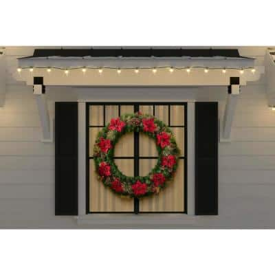 48 in. Burgundy Poinsettia Mixed Pine Wreath with Berries, Gold Glitter Cedar and Pinecone