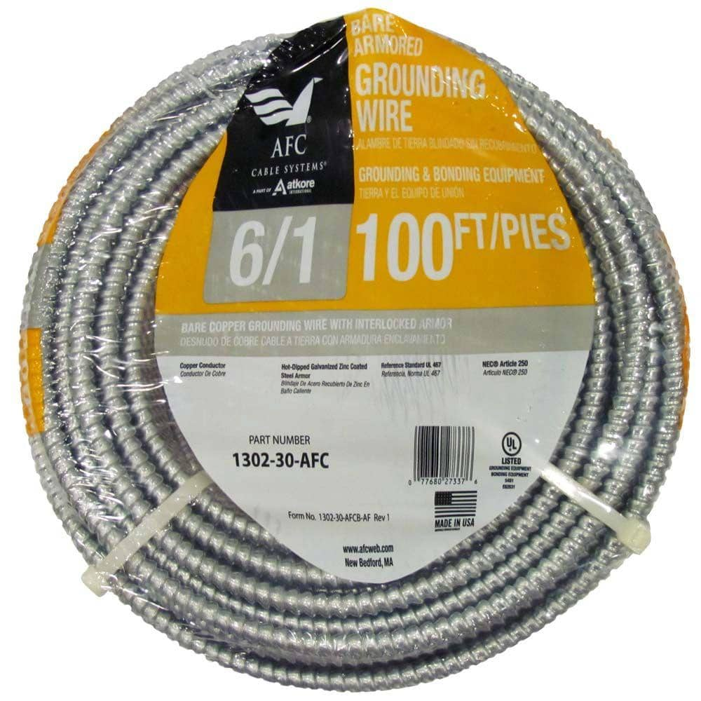 Afc Cable Systems 6 1 X 100 Ft Bare Armored Ground Cable 1302 30 Afc The Home Depot