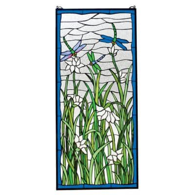 Dragonflies Dance Stained Glass Window Panel