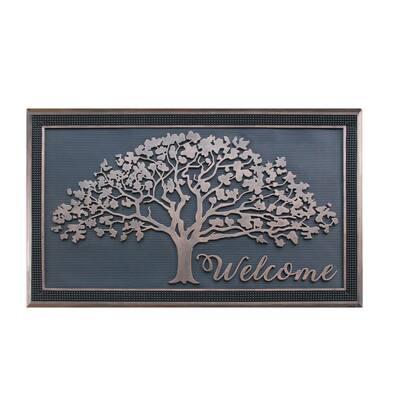 A1HC Oak Tree Design Bronze/Black 30 in. x 48 in. Rubber All Season/Large Size Double Door Mat
