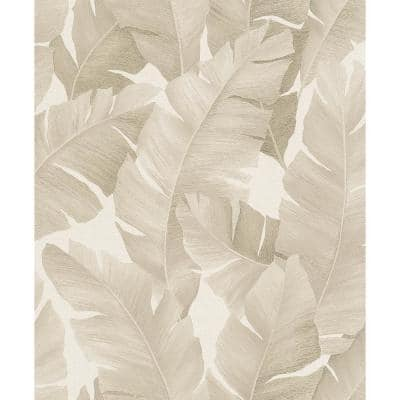 Attalea Beige Palm Leaf Strippable Wallpaper Covers 57.5 sq. ft.