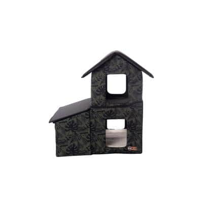 Outdoor 2-Story Kitty House with Dining Room Green Leaf Print Medium
