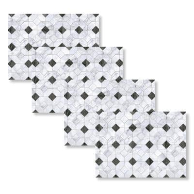 Black and White Marble Octagon 18 in. W x 13 in. L Polypropylene 4-pack Placemat Set