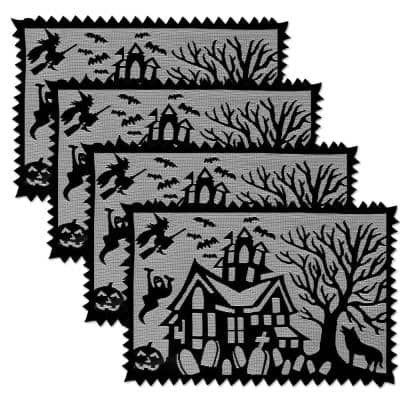 Spooky Hollow 20 in. x 14 in. Blacks Polyester Placemats (Set of 4)