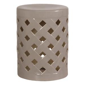 Criss Cross Gray Ceramic Indoor/Outdoor Garden Stool