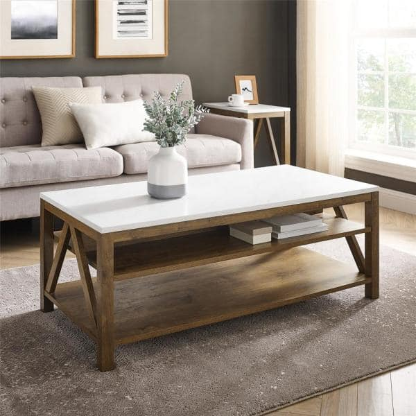 Welwick Designs 48 In Faux White Marble Natural Walnut Large Rectangle Wood Coffee Table With Shelf Hd8623 The Home Depot
