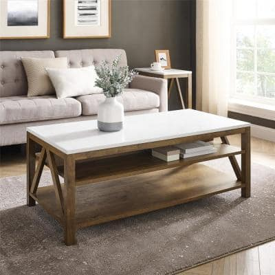 48 in. Faux White Marble/Natural Walnut Large Rectangle Wood Coffee Table with Shelf