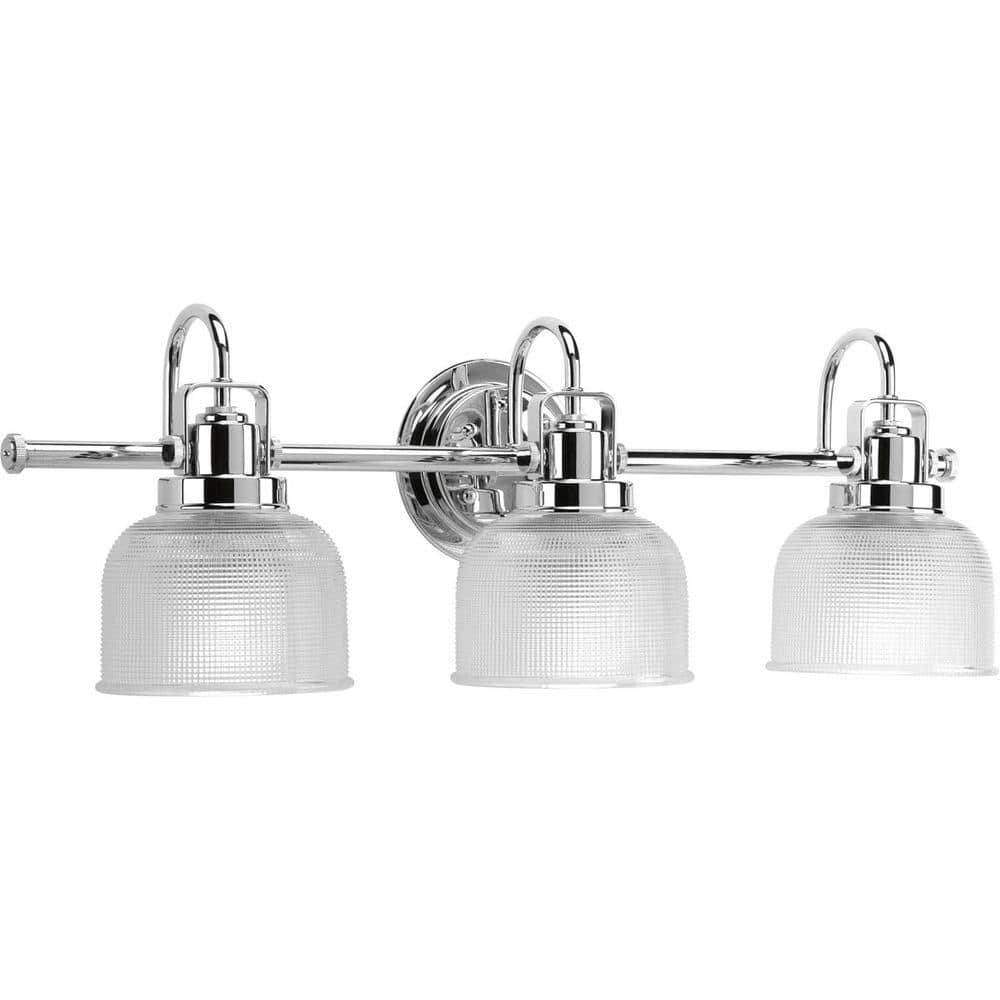 Progress Lighting Archie Collection 3 Light Polished Chrome Clear Double Prismatic Glass Coastal Bath Vanity Light P2992 15 The Home Depot