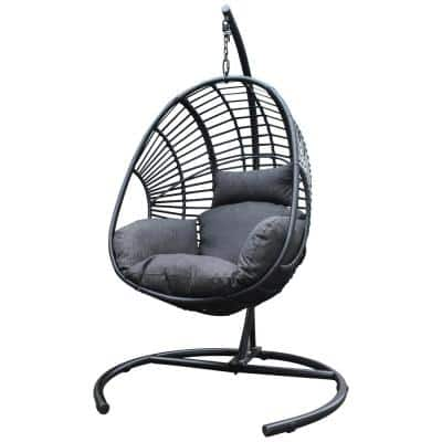 Indoor Outdoor Wicker Rattan Patio Basket Swing Egg Chair with Stand and UV Resistant Cushion