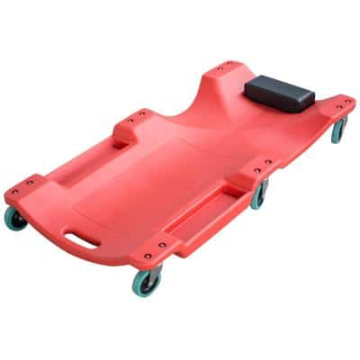 40 in. 250 lbs. Capacity Red Mechanics Creeper Seat with 6 Wheels