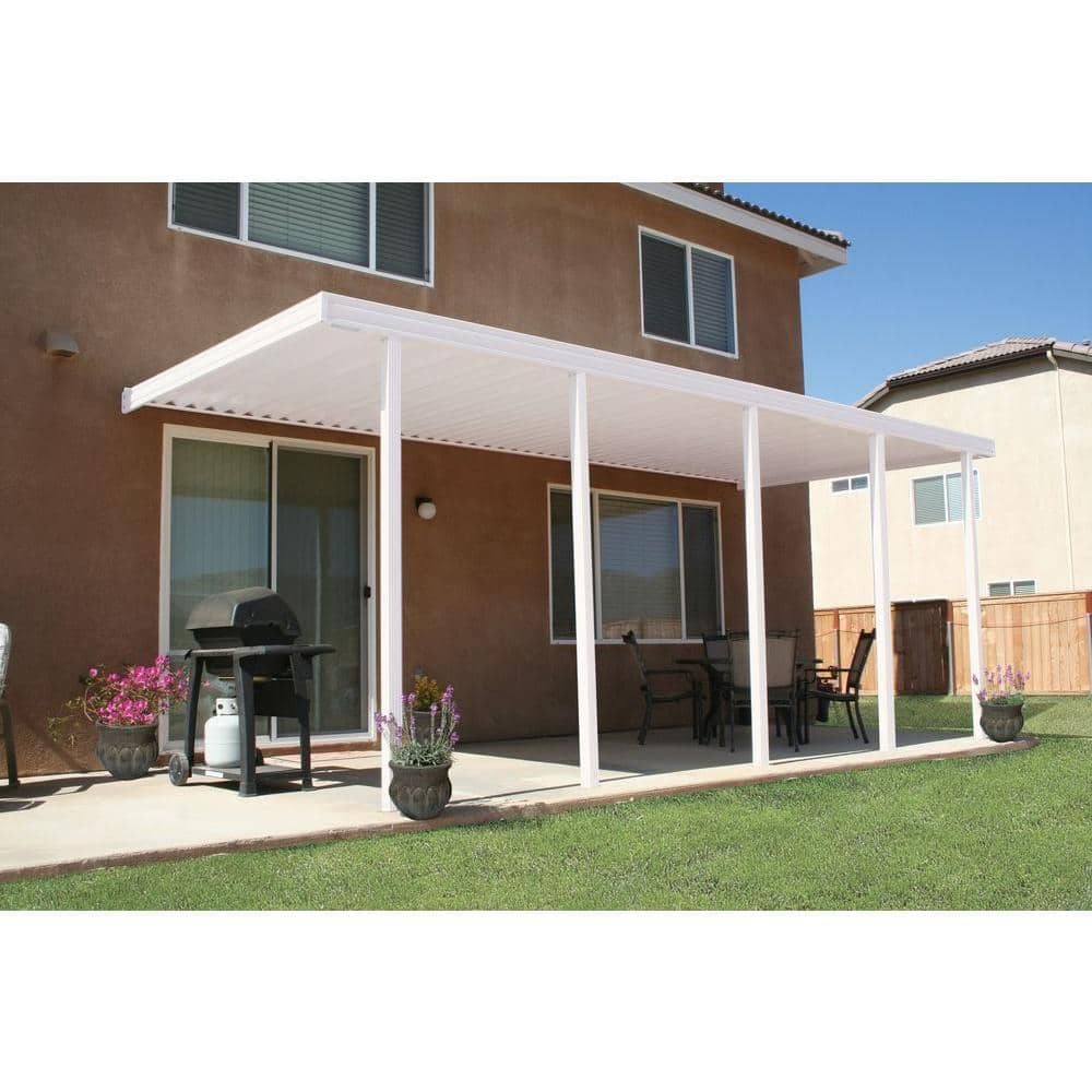 integra 22 ft x 10 ft white aluminum attached solid patio cover with 5 posts 20 lbs live load 1252006701022 the home depot