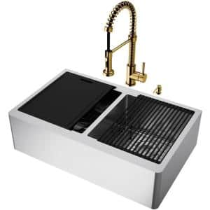 Oxford Stainless Steel 33 in. Double Bowl Farmhouse Apron-Front Workstation Kitchen Sink with Faucet and Accessories