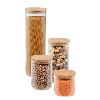 4-Piece 450ml, 700ml, 1000ml and 1650ml Glass Jar Storage Set with Bamboo with Lids