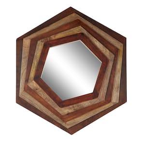 Large Hexagon Multi Layered Wood Wall Mirror, 32'' X 35