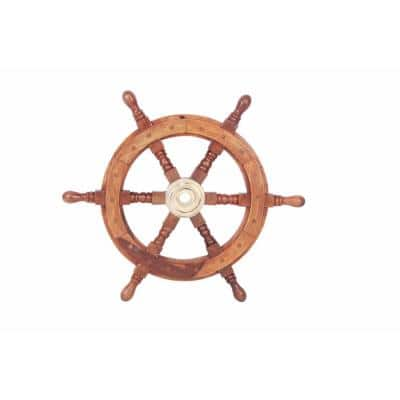 Sheesham Brown Wood and Brass Ship Wheel with 6-Spokes