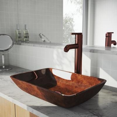 Glass Rectangular Vessel Bathroom Sink in Red and Brown Fusion with Seville Faucet and Pop-Up Drain in Oil Rubbed Bronze
