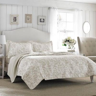 Amberley 3-Piece Beige Floral Cotton Full/Queen Quilt Set