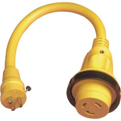Standard Pigtail Adapter Dock Side Male 15A 125V Straight Blade, Female 30A 125V Locking with Sealing Collar System