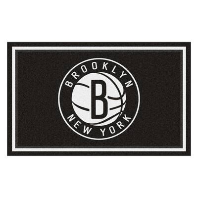 NBA - Brooklyn Nets Black 4 ft. x 6 ft. Area Rug
