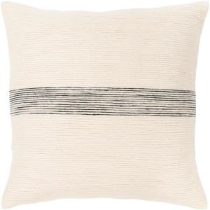Ziad 18 in. x 18 in. Gray Striped Polyester Standard Throw Pillow
