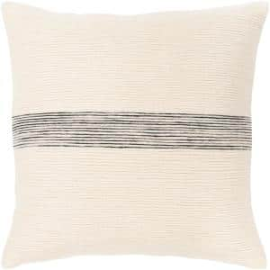 Ziad 18 in. x 18 in. Gray Striped Down Standard Throw Pillow