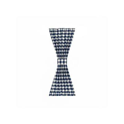Buffalo Check 25 in. W x 40 in. L Polyester/Cotton Light Filtering Door Panel and Tieback in Navy