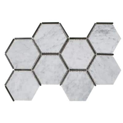 Laurel Nickel White 8.5 in. x 14.875 in. Hexagon Polished Marble and Matte Metal Wall and Floor Mosaic Tile