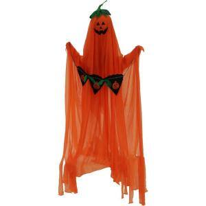 40 in. Battery Operated Poseable Orange Ghost with Pumpkin Scroll Halloween Prop