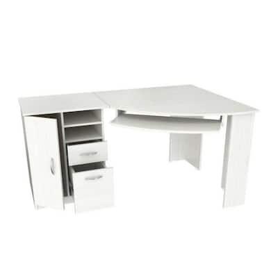 Charlie 59.45 in. L Shape White Wood Computer Desk