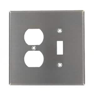 Stainless Steel 2-Gang 1-Toggle/1-Duplex Wall Plate (1-Pack)