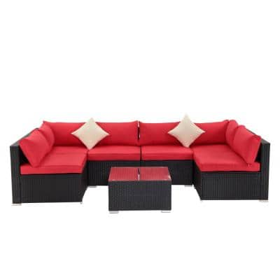 7-Piece Black PE Wicker Outdoor Patio Sectional Sofa with Red Foam Cushions