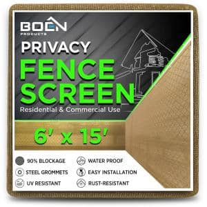 6 ft. x 15 ft. Beige Privacy Fence Screen Netting Mesh with Reinforced Grommet for Chain link Garden Fence