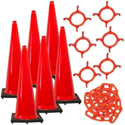 36 in. Traffic Orange Traffic Cone and Chain Kit