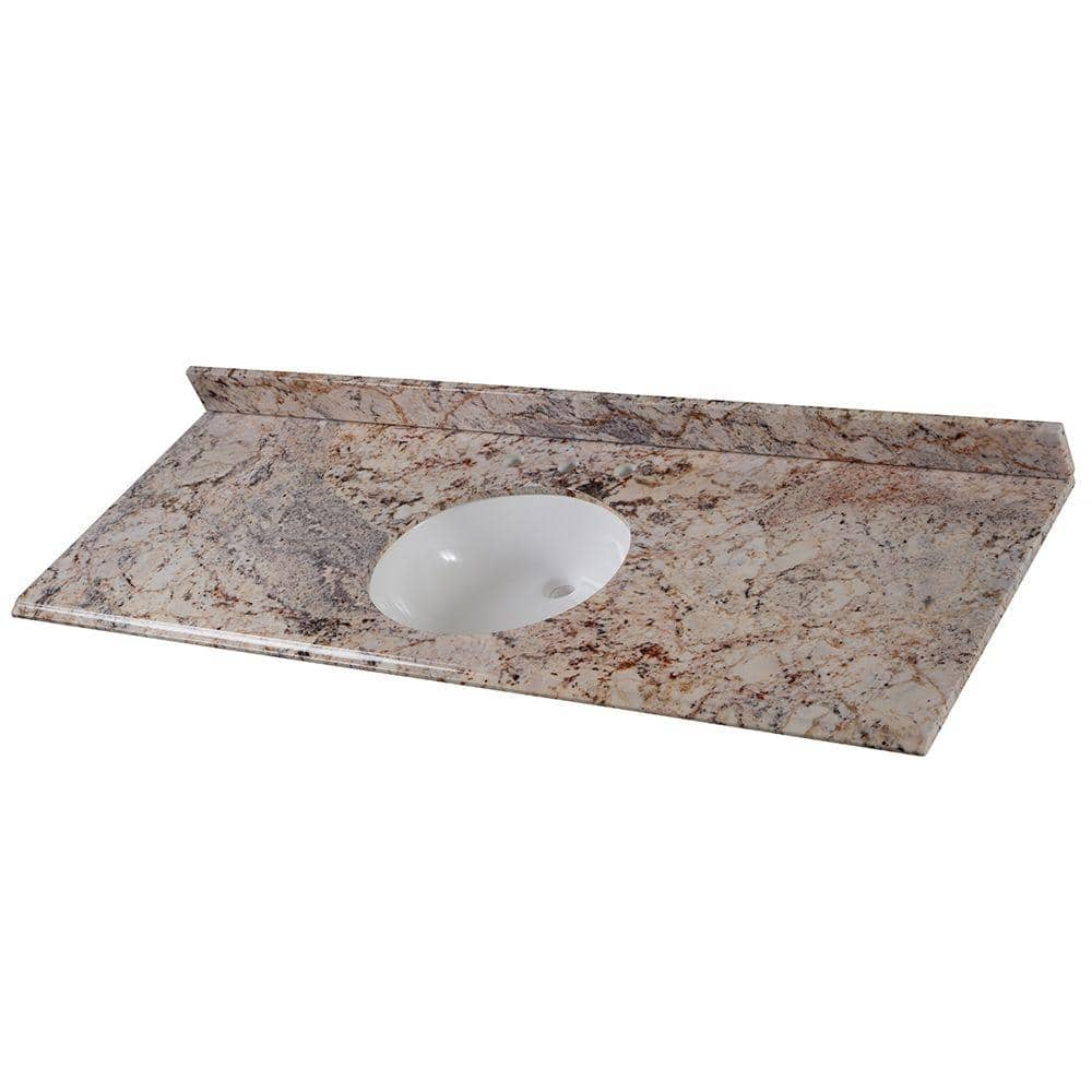 Home Decorators Collection 61 In W X 22 In D Stone Effects Single Sink Vanity Top In Rustic Gold With White Sink Seo6122 Ru The Home Depot