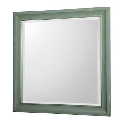 30 in. W x 30 in. H Framed Square  Bathroom Vanity Mirror in Antique Green