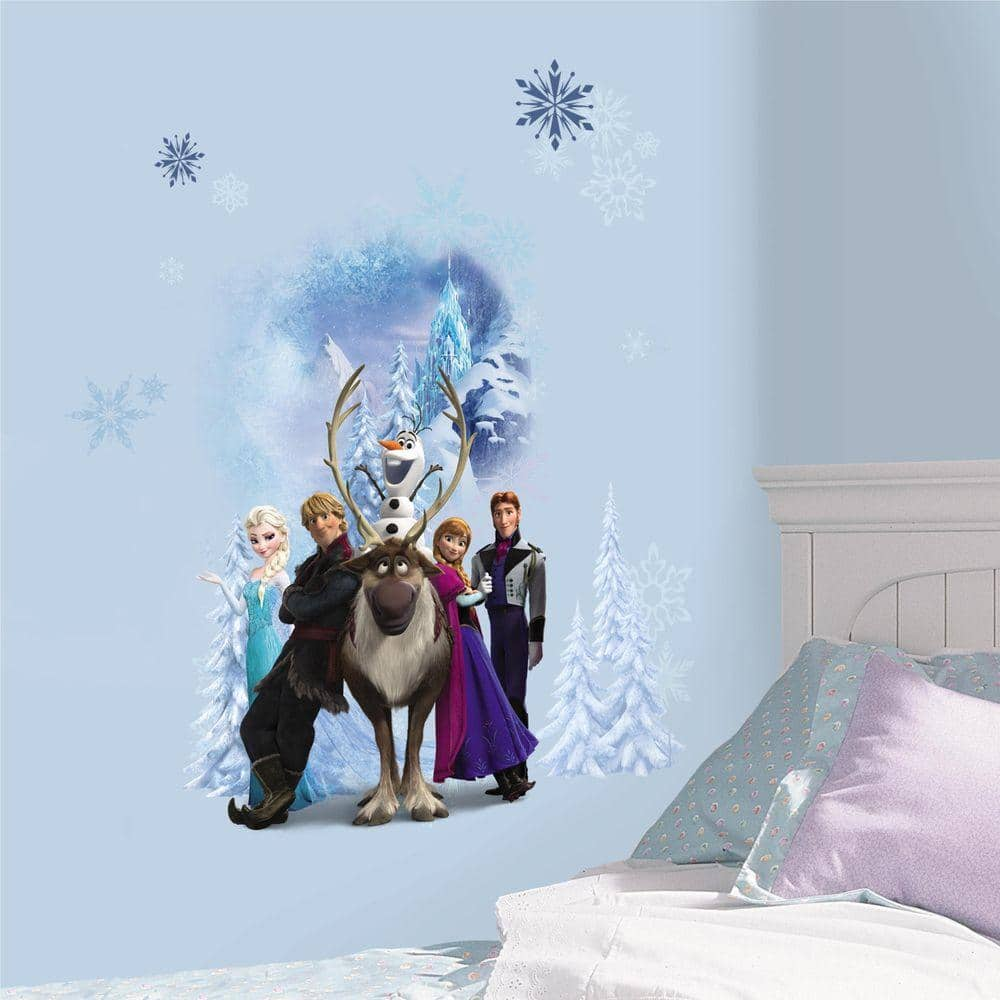 Roommates 2 5 In X 21 In Disney Frozen Character Winter Burst Peel And Stick Giant Wall Decal 7 Piece Rmk2668gm The Home Depot