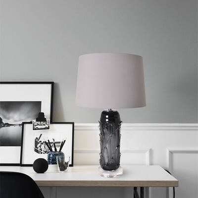 Hyacinth 27 in. Smoke Grey Indoor Table Lamp