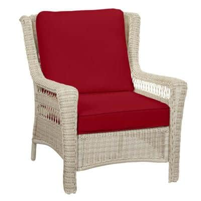 Park Meadows Off-White Wicker Outdoor Patio Lounge Chair with CushionGuard Chili Red Cushions