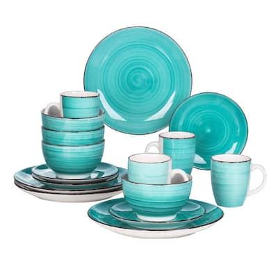 Series Bella Dinnerware 16-Pieces Green Porcelain in Vintage Look with Dinner Dessert Plate Bowl Mug (Service Set for 4)