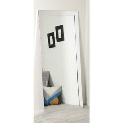 Oversized Chrome Composite Hooks Industrial Modern Mirror (65.5 in. H X 32 in. W)